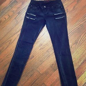Tripp NYC skinny stretch moto zipper jeans size 1.